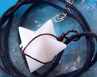 Rare WHITE AVENTURINE Crystal 3D MERKABA Star Pendant with Copper Wrap, Sacred Geometry Merkaba Necklace, With Chain