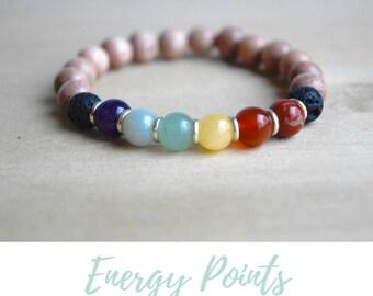 Energy Bracelet / yoga gift for mom, 7 chakras bracelet, seven chakras, gift for yoga mom, balancing bracelet,statement bracelet,yoga lovers