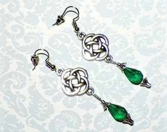Celtic Silver Earrings Love Knots Emerald Green Outlander Style Womens Dangle Irish Scottish Design