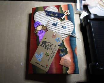 Modern junk journal. Eclectic junk journal. Colourful junk journal. Envelope junk journal. Fabric covered journal.