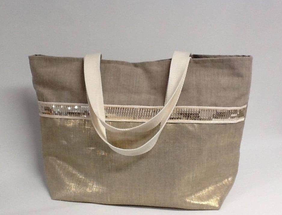 Grand sac cabas en toile de lin naturel avec empi cement - Paillette de lin ...