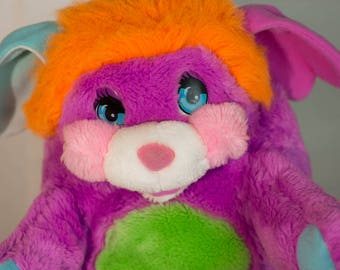 Vintage Magenta Pink Pancake Puffling Popples plush Mattel Vintage 1986 comes with Popples puzzle and book
