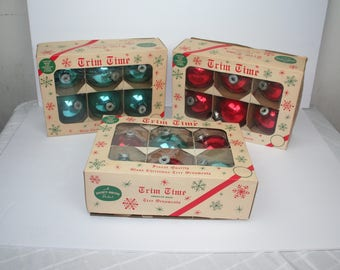 """Lot 0f (18) Shiny Bright Vintage Glass Christmas Ornaments, 4"""", Red,  Turquoise Blue"""