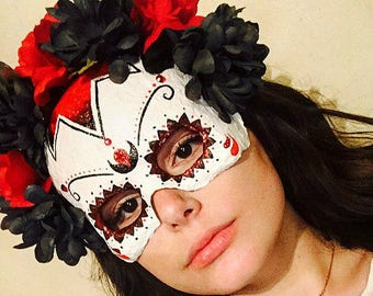Day Of The Dead Mask, paper mache mask by Haley Findley
