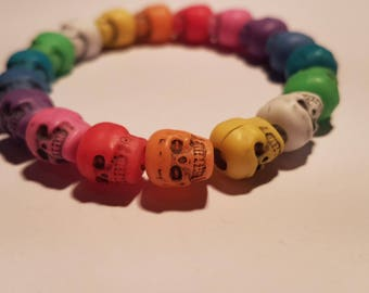 Handmade Multicoloured skull bead stretchy bracelet