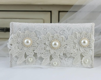 Bridal Clutch Bag, Bridesmaid Clutch, One Of A kind, Envelope Clutch, Foldover Clutch, Summer Wedding, Wedding Ideas, White Lace Fabric