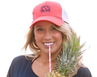 Coral Monogrammed Trucker Hat - Trucker Hat For Women - Custom Trucker Hat - Trucker Cap - Personalized Trucker Hat - Hats for Women