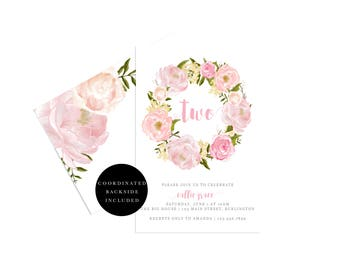 Floral Birthday Invitation, 21st Birthday, 30th Birthday, 40th birthday, First Birthday Invite, Printable Girls Birthday Invite