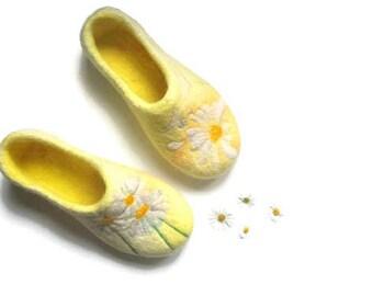 Long distance gift Felt slippers for WOMEN Flower house shoes girlfriend birthday gift idea Original design wool shoes Female gift