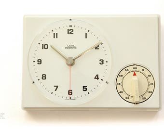Bauhaus DIEHL JUNGHANS Wall Kitchen Clock - TIMER - Panton Space Age Modern Pop Mid century German White 70s 1970s 80s