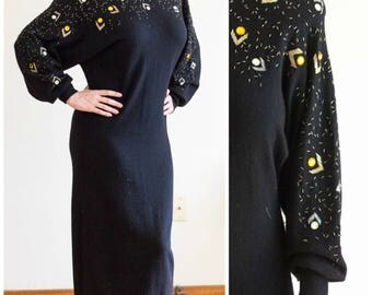 1980s lambswool beaded sweater dress with dolman sleeves from Georgiana Ungaro SIZE L