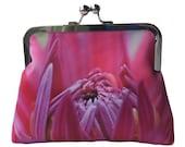 Hot Pink Dahlia Flower Satin Silver Tone Clasp Frame Clasp Clutch Purse Evening Bag