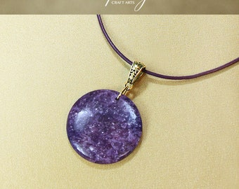 Gemstone Lepidolite pendant necklace, Purple Lepidolite pendant, Round pendant, Genuine Leather necklace, Crown Chakra,InfinityCraftArts