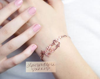 Memorial Signature Bracelet • Personalized Actual Handwriting Bracelet • Custom Handwriting Jewelry • Keepsake Jewelry • MOTHER GIFT • BH01