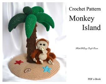 Monkey island crochet pattern Crochet palm tree pattern Amigurumi monkey and banana Mini crochet sea island decor Digital download