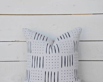 Mud Cloth style pillow cover, dashes and dots shown in 20x20 and available in 16x16, 18x18, 20x20, 16x24 and 16x26.