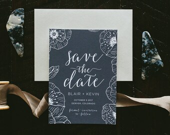 Blair Black & White Poppies Wedding Save the Date