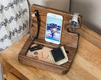 Nightstand Organizer, Student Gift, Personalized mens gifts, Gifts for Her, Gifts for Boyfriend, Wood Docking Station, Iphone Docking