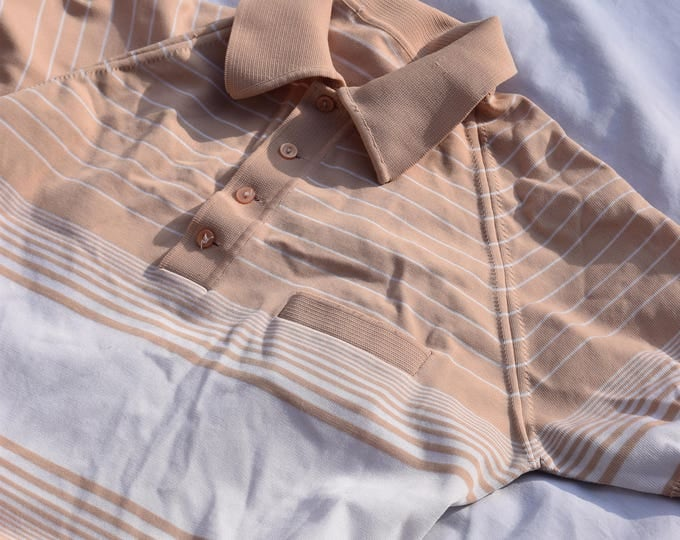 Pastel Peach and White Striped Polo