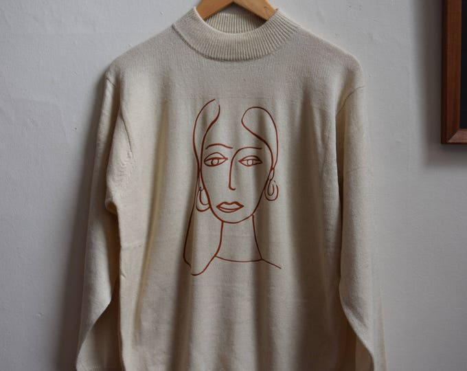 Paolo Mock Neck Pull Over Sweater | Terracotta Print