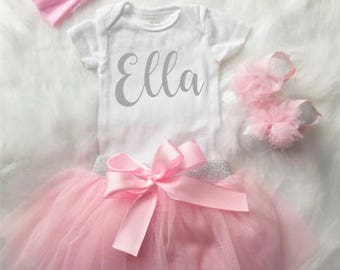 Personalized Pink Onesie with Matching Tutu, Headband, and Shoes / Personalized Onesie / Tutu / Personalized Onesies / Newborn Outfit