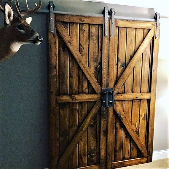 Double sliding barn door hardware kit with track for 2 doors for Small double barn doors