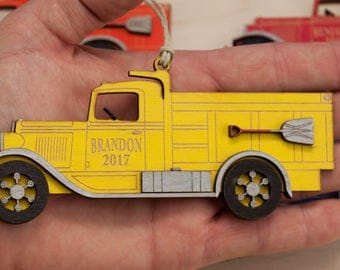 Personalized Laser Engraved Dump Truck Christmas Ornament