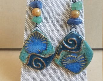 Colors of the sea dangle earrings