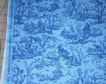 paris toile scene on blue fabric by the yard fq timeless treasures fabric