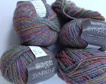 Vintage Wool Yarn Sympthie Filatura Di Crosa Yarn Made in Italy Twisted Strands Crochet Yarn Destash Variegated Luxury Yarn, Super Soft