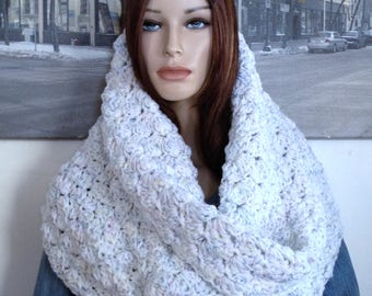 Angel Food Cake Confetti XL Hoodie Cowl Scarf Thick White Stretchy Shawlette Extra Wide Cowl Capelet, Versatile Winter Scarf READY To SHIP