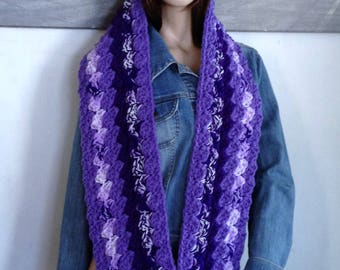 Handmade Scarf, Purple Scarf Long Infinity Scarf Thick Cowl for Her, Many Shades of Violet Pansy Lilac & Lavendar Purple Scarf READY TO SHIP