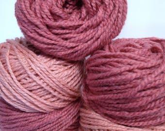 Chunky Yarn for Bulky Knitting, Thick Antique Rose & Dusty Rose Yarn Bundle Super Soft Yarn for Fiber Art Work or Knitting Handmade Gifts