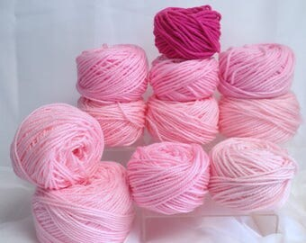 Pink Chunky Yarn for Bulky Knitting, Thick Yarn Variety Pink Yarn Bundle Fiber Art Supply, Doll Making Supply, One Skein Wonders Soft Pink