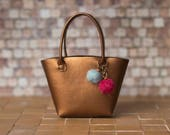 1:6 scale tote bag; copper faux leather, felted pompoms; fits Fashion Royalty, Momoko, Poppy Parker or Barbie dolls