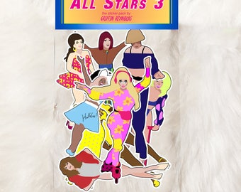 Rupaul's Drag Race All Stars 3 Sticker Pack - Trixie Mattel, Chi Chi, Kennedy, Milk, Morgan, Shangela, Thorgy Thor, Aja, Bendelacreme