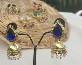 Dussehra Collections : Gold Tone Jhumkas/Thilak Shaped Jhumkas/Dussehra Collections/Indian Desi Jewelry/Latest Trend Earrings