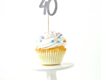 Number 40 Silver Glitter Cupcake Toppers, Number 40 Toothpicks Silver Party Decor Food Decoration Fortieth 40th Birthday Forty Over The Hill