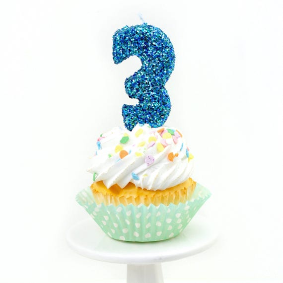 "3"" Number 3 Candle, Giant 3 Candle, Large Blue Candle, Mermaid Birthday, Giant Glitter Candle, Boy Party Decor, Multi-Colored Glitter"