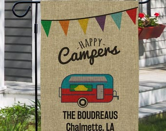 Happy Campers Flag, Personalized Camping Flag, Custom Camp Site Garden Flag, Burlap Camp Flag