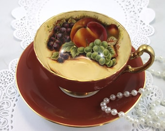 Aynsley Teacup & Saucer, Fruit Orchard Pattern, Darkred Borders, Oban Shape, Gold Rims, Bone English China made in 1980s