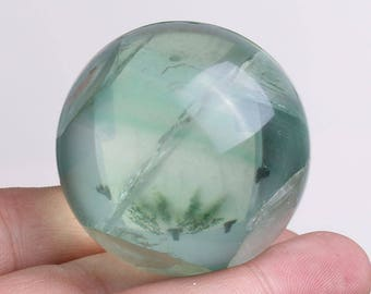 Natural Green Fluorite Quartz Crystal Sphere Ball Healing, Crystals and Minerals , Wiccan Pagan Crystal J681