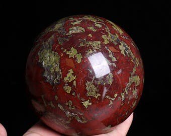 Natural Dragon Blood Stone Jasper Crystal Sphere Ball Healing, Crystals and Minerals , Wiccan Pagan Crystal J896