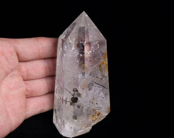 Rare Natural Black Tourmaline Hair Quartz Crystal Point healing, Crystal Point J937