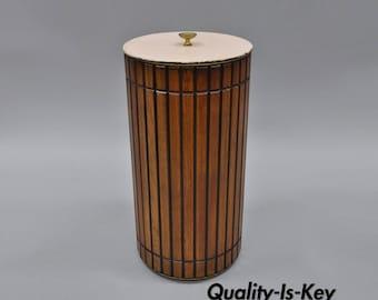 Vintage Wooden Sewing Basket Storage Bin Can with Lid Mid Century Modern Retro
