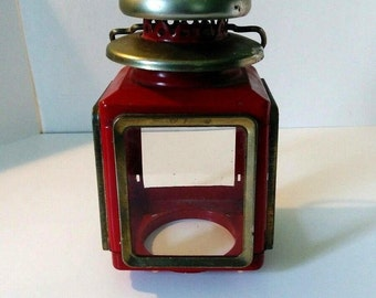 Vintage red Brass and metal lighthouse lantern tea light cover 1950s home decor candle light decor