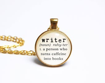 Writer Necklace Typewriter Dictionary Book Jewelry Jewellery Literary  Library Card Bookworm Bibliophile Author Book Gift