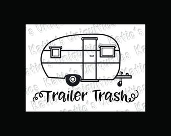 Trailer Trash rv Camping Camper Garbage Trash Can SVG DXF PNG Digital Cut File for use with cutting machines Cricut Silhouette