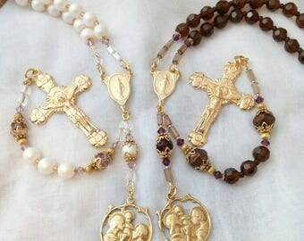 Bridal Bouquet Rosary Set, Wedding Accessory; Catholic Wedding Rosaries Handmade Brown, Amethyst & Blush Wedding Gift Set
