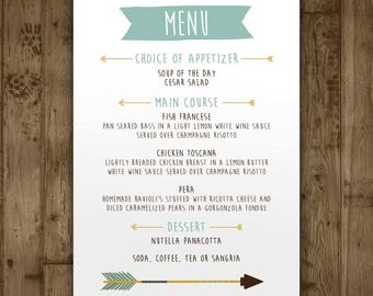 Baby Shower Menu Card   Boys Adventure Arrows